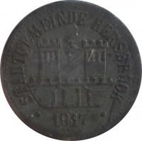 obverse of 10 Pfennig - Hersburg (Statd, Bayern) (1917) coin with F# 210.2 from Germany. Inscription: STADTGEMEINDE HERSBRUCK · 1917 ·