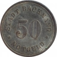reverse of 50 Pfenning - Backnang (1918) coin with F# 25.5 from Germany. Inscription: STADT BACKNANG * NOTGELD * 50