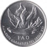 obverse of 1 Cèntim - Joan Martí i Alanis - FAO (1999) coin with KM# 171 from Andorra. Inscription: FAO ALIMENTS GARANTITS PEL SEGLE XXI