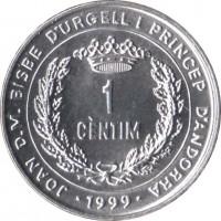 reverse of 1 Cèntim - Joan Martí i Alanis - FAO (1999) coin with KM# 171 from Andorra. Inscription: JOAN D.M. BISBE D'URGELL I PRINCIP D'ANDORRA 1 CÈNTIM 1999
