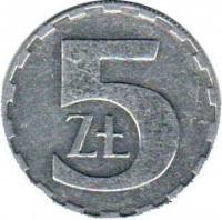 reverse of 5 Złotych (1989 - 1990) coin with Y# 81.3 from Poland. Inscription: 5 ZŁ