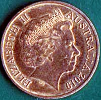 obverse of 1 Cent - Elizabeth II - 60 Years to Mr. Squiggle - 4'th Portrait (2019) coin from Australia. Inscription: ELIZABETH II AUSTRALIA 2019 IRB