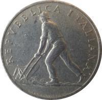 obverse of 2 Lire (1946 - 1950) coin with KM# 88 from Italy. Inscription: REPVBBLICA ITALIANA