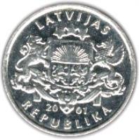 obverse of 1 Lats (2001) coin with KM# 54 from Latvia. Inscription: LATVIJAS REPUBLIKA 20 01