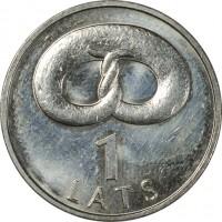 reverse of 1 Lats - Pretzel (2005) coin with KM# 66 from Latvia. Inscription: 1 LATS