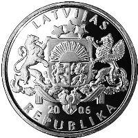 obverse of 1 Lats - Ligo Wreath (2006) coin with KM# 73 from Latvia. Inscription: LATVIJAS 20 06 REPUBLIKA
