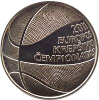reverse of 1 Litas - The European Basketball Championship 2011 (2011) coin with KM# 177 from Lithuania. Inscription: 2011 EUROPOS KREPŠINIO ČEMPIONATAS