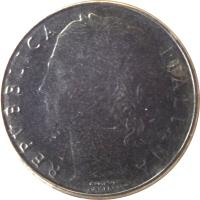 obverse of 100 Lire - Smaller (1990 - 1992) coin with KM# 96.2 from Italy. Inscription: REPVBBLICA ITALIANA ROMAGNOLI GIAMPAOLI INC.