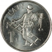 reverse of 1 Lats - Chimney-sweep (2008) coin with KM# 107 from Latvia. Inscription: LATS 1