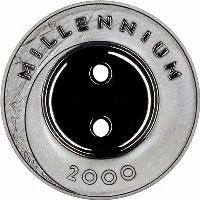 reverse of 1 Lats - Millennium (1999) coin with KM# 39 from Latvia. Inscription: MILLENIUM 2000