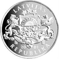 obverse of 1 Lats - Ice Hockey (2001) coin with KM# 50 from Latvia. Inscription: LATVIJAS 2001 REPUBLIKA