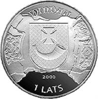 obverse of 1 Lats - Ventspils (2000) coin with KM# 46 from Latvia. Inscription: WINDAU 2000 1 LATS