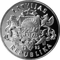 obverse of 1 Lats - For Freedom and Democracy (1995) coin with KM# 23 from Latvia. Inscription: LATVIJAS 1995 REPUBLIKA
