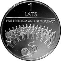 reverse of 1 Lats - For Freedom and Democracy (1995) coin with KM# 23 from Latvia. Inscription: 1 LATS FOR FREEDOM AND DEMOCRACY