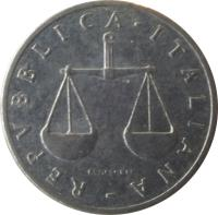 obverse of 1 Lira (1951 - 2001) coin with KM# 91 from Italy. Inscription: REPVBLICA · ITALIANA