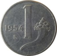 reverse of 1 Lira (1951 - 2001) coin with KM# 91 from Italy. Inscription: 1956 1 R