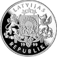 obverse of 1 Lats - Track Cycling (1999) coin with KM# 44 from Latvia. Inscription: LATVIJAS 1999 REPUBLIKA