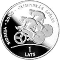 reverse of 1 Lats - Track Cycling (1999) coin with KM# 44 from Latvia. Inscription: SIDNEJA · 2000 · OLIMPISKAS SPELES 1 LATS