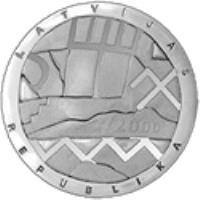 obverse of 1 Lats - Earth (2000) coin with KM# 47 from Latvia. Inscription: LATVIJAS 2000 REPUBLIKA