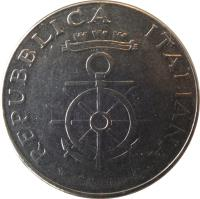 obverse of 100 Lire - Centennial of Livorno Naval Academy (1981) coin with KM# 108 from Italy. Inscription: REPVBLICA ITALIANA M.VALLUCCI
