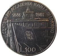 reverse of 100 Lire - Centennial of Livorno Naval Academy (1981) coin with KM# 108 from Italy. Inscription: CENTENARIO ACADEMIA NAVALE DI LIVORNO 1881 1981 L. 100 R MOPPI RI