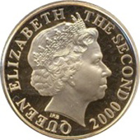 obverse of 1 Sovereign - Elizabeth II - William I - Duke of Normandy (2000) coin with KM# 110 from Jersey. Inscription: QUEEN ELIZABETH THE SECOND IRB 2000