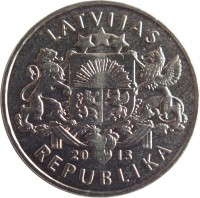obverse of 1 Lats - Parity coin (2013) coin with KM# 145 from Latvia. Inscription: LATVIJAS 20 13 REPUBLIKA