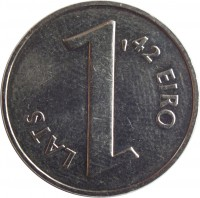reverse of 1 Lats - Parity coin (2013) coin with KM# 145 from Latvia. Inscription: 1 LATS 1,42 EIRO