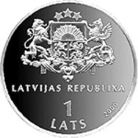 obverse of 1 Lats - For the Children of the World (2000) coin with KM# 48 from Latvia. Inscription: LATVIJAS REPUBLIKA 1 LATS 2000