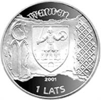 obverse of 1 Lats - Cesis (2001) coin with KM# 49 from Latvia. Inscription: WENDEN 2001 1 LATS