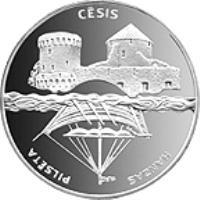 reverse of 1 Lats - Cesis (2001) coin with KM# 49 from Latvia. Inscription: CĒSIS HANZAS PILSĒTA