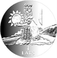 reverse of 1 Lats - Heaven (2001) coin with KM# 51 from Latvia. Inscription: 1 LATS