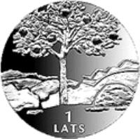 reverse of 1 Lats - Destiny (2002) coin with KM# 52 from Latvia. Inscription: 1 LATS