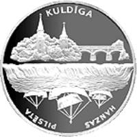 reverse of 1 Lats - Kuldiga (2002) coin with KM# 53 from Latvia. Inscription: KULDĪGA HANZAS PILSETA