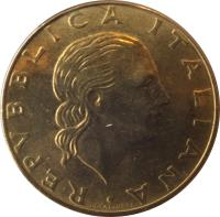 obverse of 200 Lire - Carabinieri (1999) coin with KM# 218 from Italy. Inscription: REPUBLICA ITALIANA