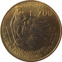 reverse of 200 Lire - Carabinieri (1999) coin with KM# 218 from Italy. Inscription: 1969-1999 L.200 CARABINIERI TUTELA PATRIMONIO ARTISTICO