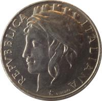 obverse of 50 Lire (1996 - 2001) coin with KM# 183 from Italy. Inscription: REPVBBLICA ITALIA