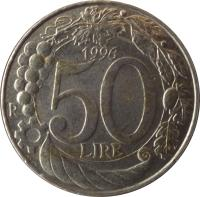 reverse of 50 Lire (1996 - 2001) coin with KM# 183 from Italy. Inscription: 50 LIRE