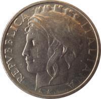 obverse of 100 Lire - FAO (1995) coin with KM# 180 from Italy. Inscription: REPVBLICA ITALIANA L CRETARA
