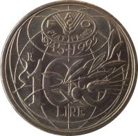 reverse of 100 Lire - FAO (1995) coin with KM# 180 from Italy. Inscription: FAO FIAT PANIS 1945-1995 R 100 LIRE
