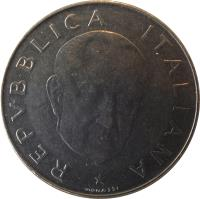 obverse of 100 Lire - 100th Anniversary to Birth of Guglielmo Marconi (1974) coin with KM# 102 from Italy. Inscription: REPVBBLICA ITALIANA