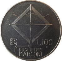 reverse of 100 Lire - 100th Anniversary to Birth of Guglielmo Marconi (1974) coin with KM# 102 from Italy. Inscription: 1874 1974 L.100 GUGLIELMO MARCONI