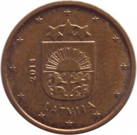 obverse of 1 Euro Cent (2014 - 2015) coin with KM# 150 from Latvia. Inscription: 2014 LATVIJA