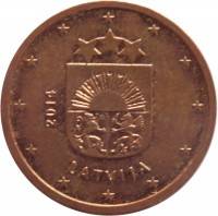 obverse of 2 Euro Cent (2014 - 2015) coin with KM# 151 from Latvia. Inscription: 2014 LATVIJA