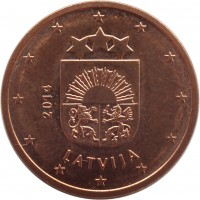 obverse of 5 Euro Cent (2014 - 2015) coin with KM# 152 from Latvia. Inscription: 2014 LATVIJA