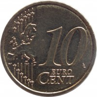 reverse of 10 Euro Cent (2014 - 2015) coin with KM# 153 from Latvia. Inscription: 10 EURO CENT LL