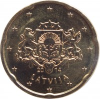 obverse of 20 Euro Cent (2014 - 2015) coin with KM# 154 from Latvia. Inscription: 20 14 LATVIJA