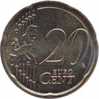 reverse of 20 Euro Cent (2014 - 2015) coin with KM# 154 from Latvia. Inscription: 20 EURO CENT LL