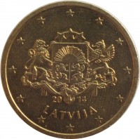 obverse of 50 Euro Cent (2014 - 2015) coin with KM# 155 from Latvia. Inscription: 20 14 LATVIJA