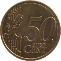 reverse of 50 Euro Cent (2014 - 2015) coin with KM# 155 from Latvia. Inscription: 50 EURO CENT LL